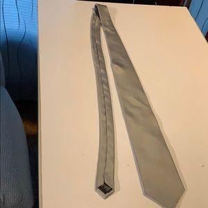 Silver men's silk tie